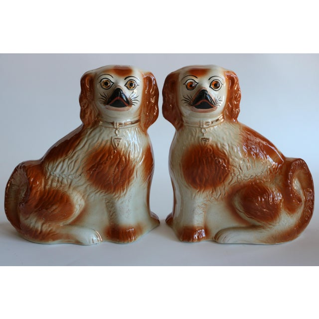 Large pair of matched, seated Staffordshire spaniels with caramel spots and glass eyes. Worn gold-touched accents,...