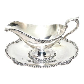 Melford Wallace Silver Gravy/Sauce Boat & Tray For Sale