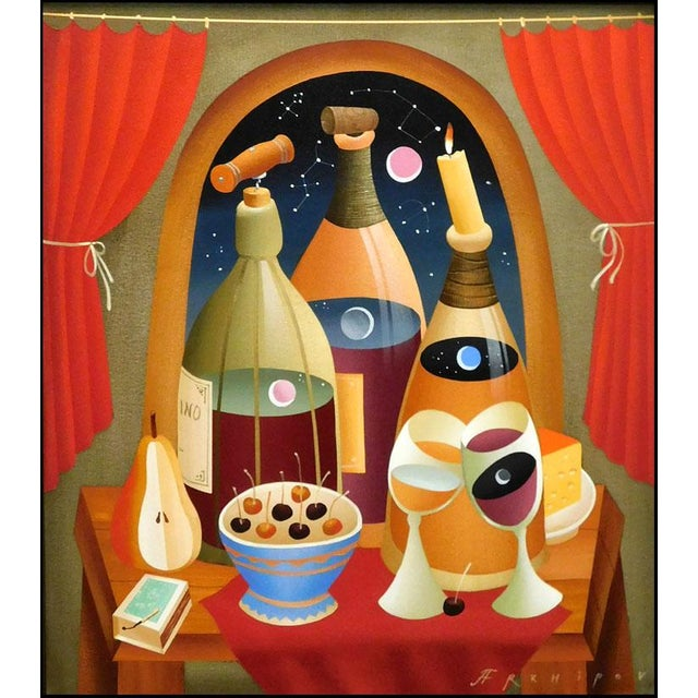 """Drink Wine"" (framed) Original oil painting on canvas by Russian artist Anton Arkhipov. Image Size : 32"" x 28"", Framed..."