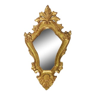 Italian Hand Painted Giltwood Mirror For Sale