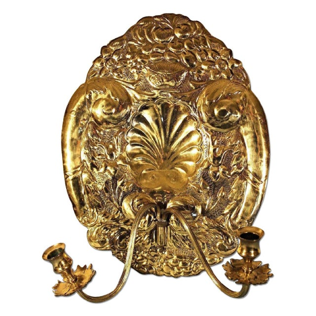 Mottahedeh Double Baroque Repousse Brass Wall Sconces - A Pair - Image 2 of 9