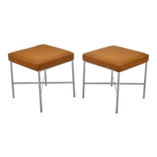 Shelby Williams Paul McCobb Style Ultrasuede Stools- a Pair For Sale