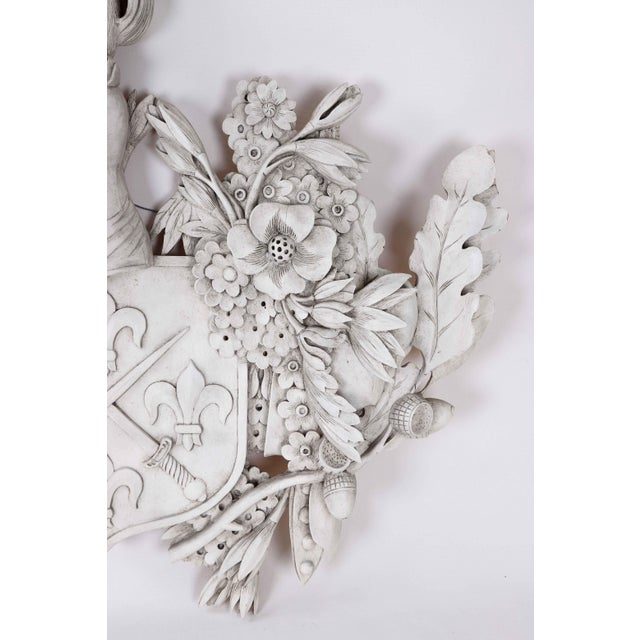 White Wood Carved Family Crest For Sale - Image 4 of 6