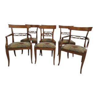 Vintage Henredon Heritage Regency Walnut Dining Side Arm Chairs - Set of 6