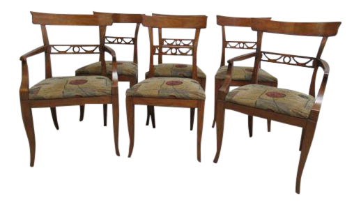 Vintage Henredon Heritage Regency Walnut Dining Side Arm Chairs   Set Of 6