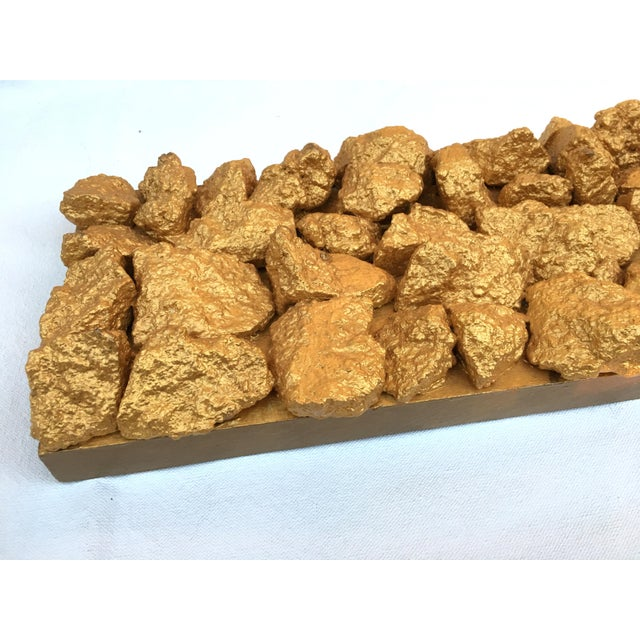 "Metal Suga Lane ""Gilt Duplicidad"" Gold Concrete Rock Sculpture For Sale - Image 7 of 13"