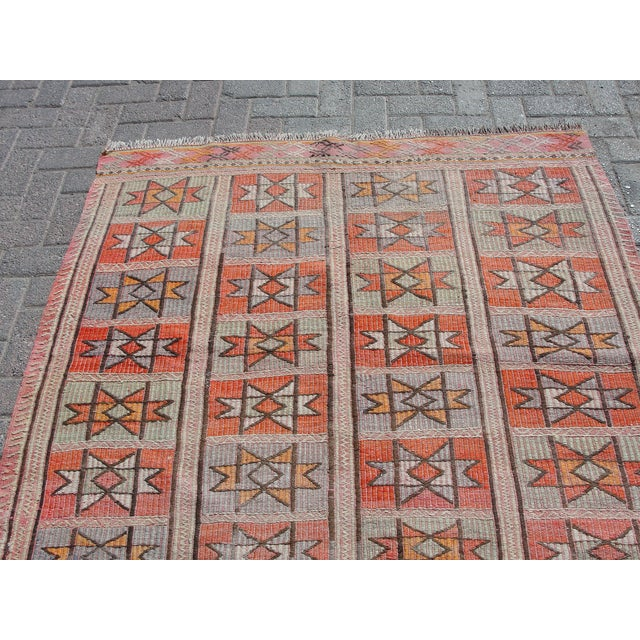"Vintage Turkish Kilim Rug - 4'9"" x 5'1"" For Sale - Image 10 of 11"