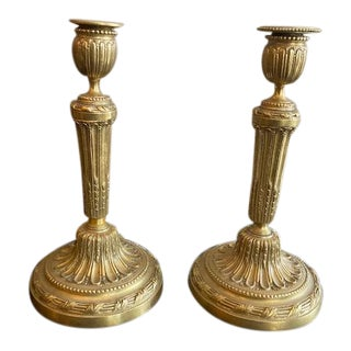 Antique 19th C. French Bronze Candlesticks Finely Chased - a Pair For Sale