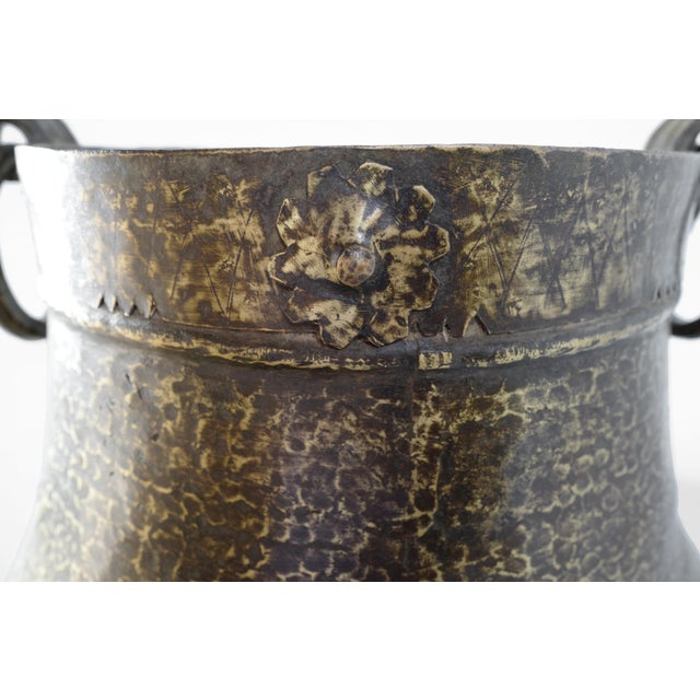 Vintage Brass Hammered Pot For Sale - Image 4 of 5