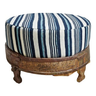Striped Indigo Chowki Ottoman For Sale