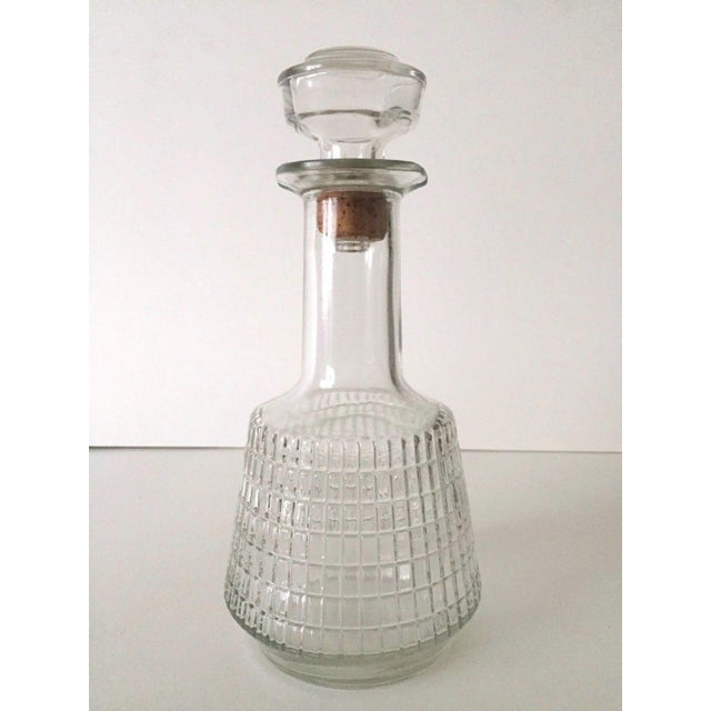 Contemporary Vintage Mid Century Modern Square Cut Glass Decanters - a Pair For Sale - Image 3 of 8