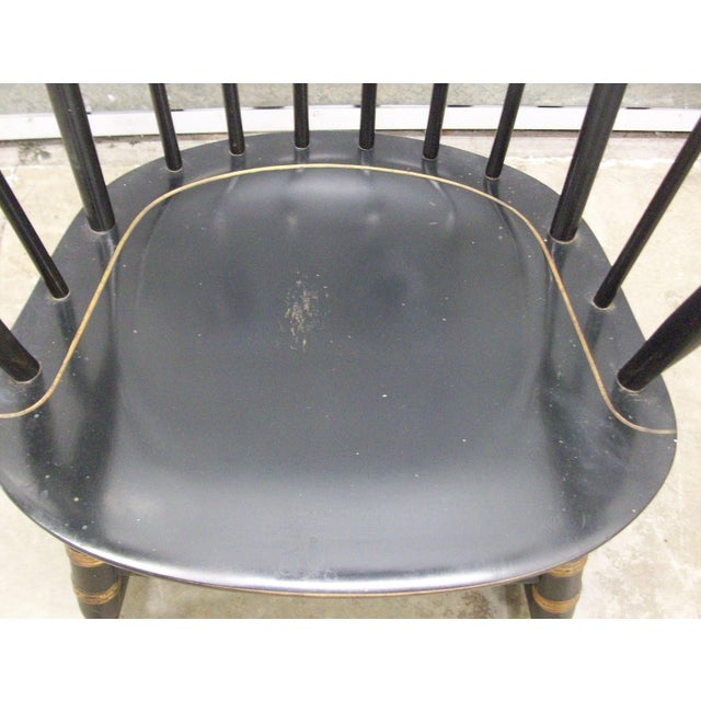 1970's Vintage Black Nichols & Stone Painted Hitchcock Style Rocking Chair For Sale In New York - Image 6 of 9
