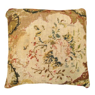 Decorative English Needlepoint Pillow For Sale