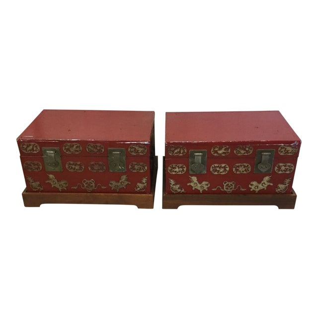 Red and Gold Lacquered Chinese Trunks - a Pair For Sale