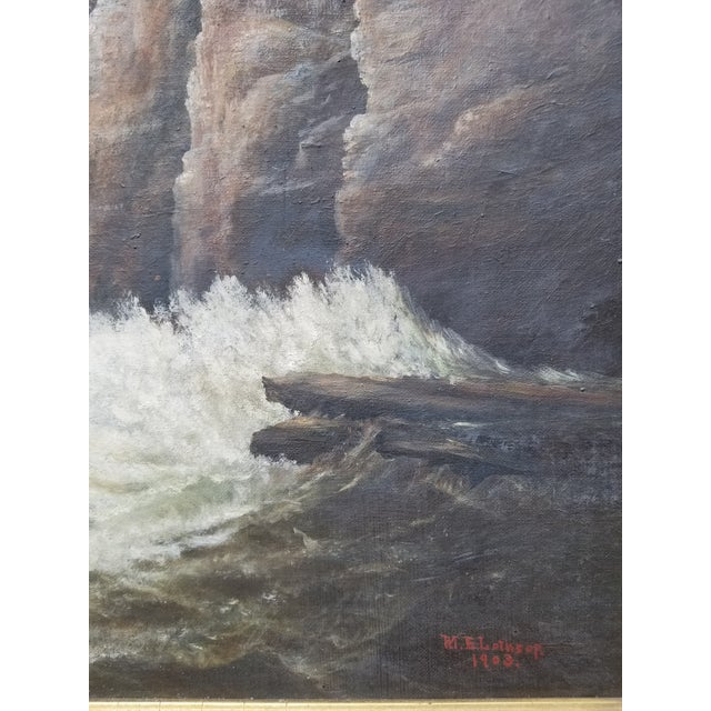 Antique 1903 Seascape Oil Painting Cliff & Waves For Sale - Image 11 of 12