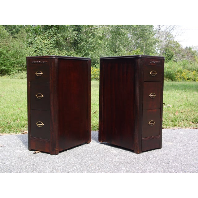 Antique Pair Art Deco Walnut Nightstands End Tables Bedroom Stands For Sale - Image 9 of 13