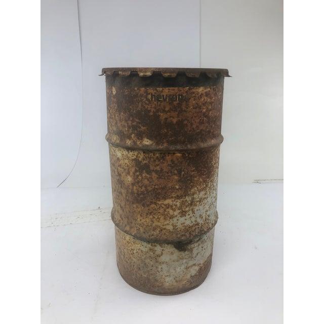 Vintage Industrial Metal Oil Barrel With Lid For Sale - Image 13 of 13
