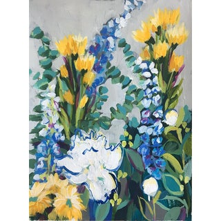 "Contemporary Floral ""Garden 7"" Acrylic Painting on Canvas"