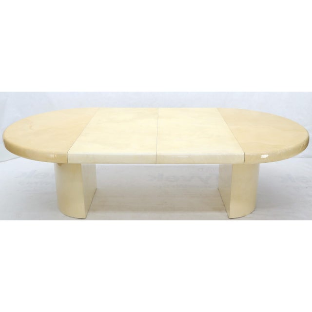 Animal Skin Large Round Lacquered Parchment Goat Skin Cylinder Base Dining Table 2 Leaves For Sale - Image 7 of 13