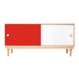 Nico & Yeye Luke Modern Kids Credenza Console Solid Maple and Maple Veneers Red For Sale