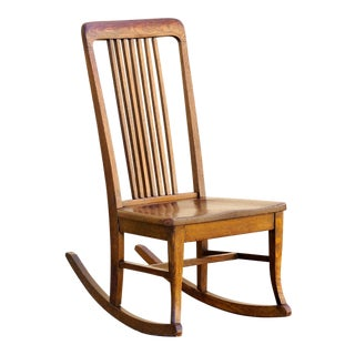 American Craftsman Child's Rocking Chair With Slat Back For Sale