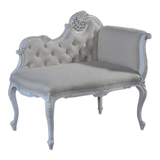 La Rochelle French Lace Carved Rococo Settee For Sale