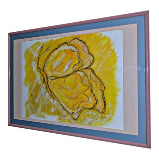 """Butterfly in Yellow"" Original Drawing by German For Sale"