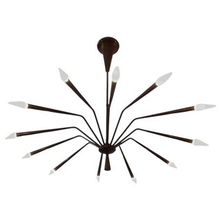 1960s Oscar Torlasco for Lumi Futurist Brass Sputnik Chandelier For Sale