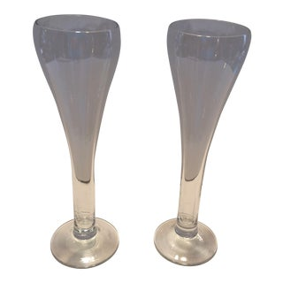 Vintage Mid-Century Crystal Champagne Flutes - A Pair For Sale