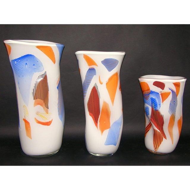 Davide Donà Italian Free-Form White Orange Red Blue Murano Art Glass Vase - in Showroom For Sale - Image 9 of 10