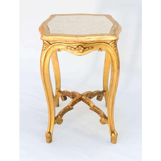 Carved Giltwood Accent Table With Mirrored Top For Sale In West Palm - Image 6 of 10