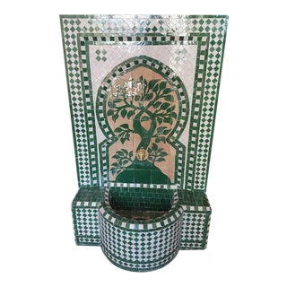 Hunter Green Moroccan Mosaic Fountain For Sale