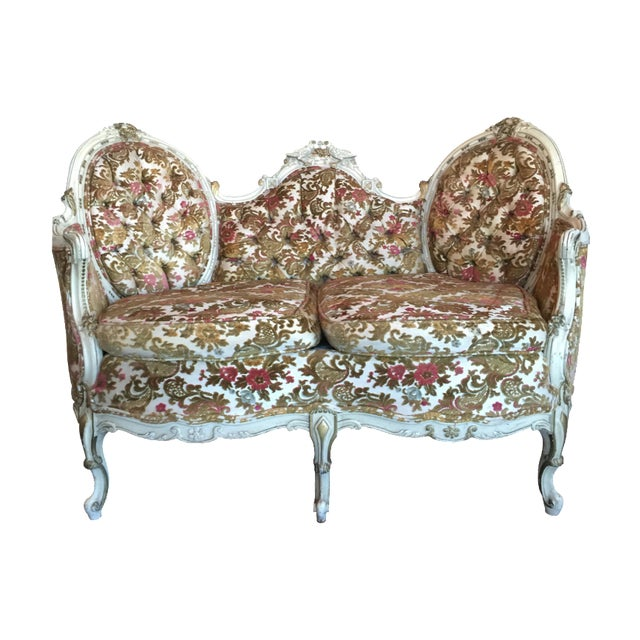 Painted French Settee with Gilt Accents For Sale