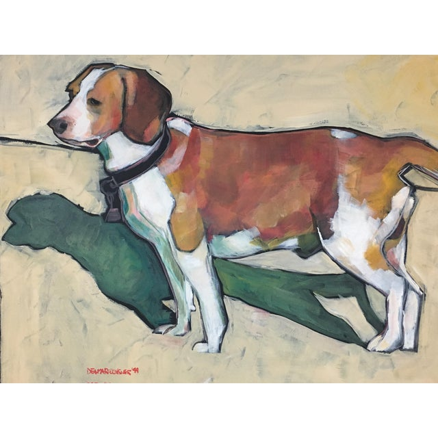 1990s Vintage Contemporary Beagle Dog Portrait Oil Painting Signed by Rise Delmar Ochsner For Sale In Washington DC - Image 6 of 13