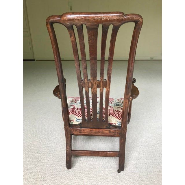 Clarence House Vintage Walnut Arm Chair With Clarence House Tibet Tiger Upholstery For Sale - Image 4 of 7