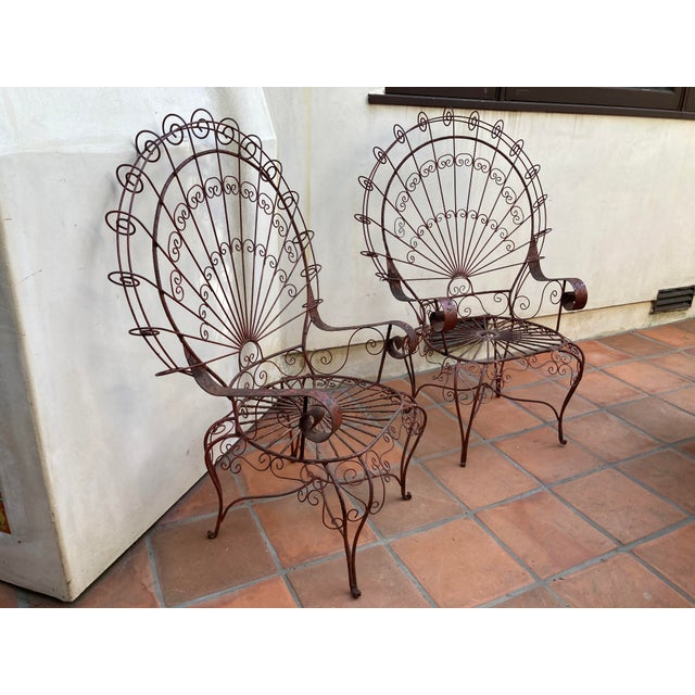 Vintage Mid-Century Salterini Style Peacock Chairs - a Pair For Sale - Image 9 of 12
