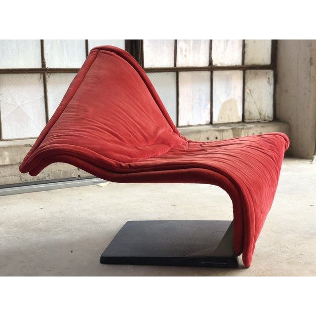Rosenthal Flying Carpet Chair by Simon De Santa - Abstract Contemporary Modern Red Suede Velvet Chair For Sale - Image 4 of 11