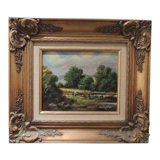 California Landscape Scene Montanola Oil Painting in Gilded Gold Frame For Sale