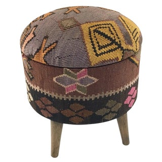 Round Kilim Pouf | Pops of Pink Kilim Ottoman For Sale