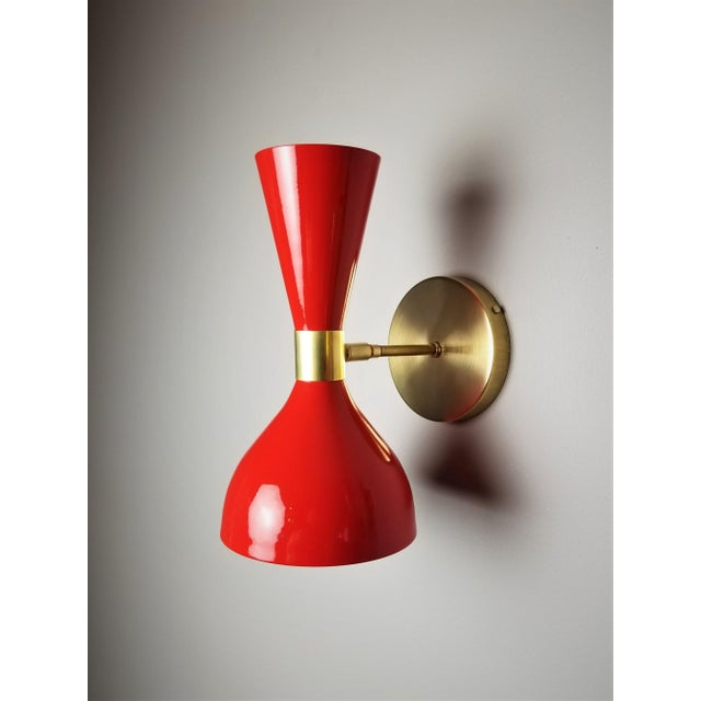 "Blueprint Lighting Italian Modern Brass and Enamel ""Ludo"" Wall Sconces Blueprint Lighting - A Pair For Sale - Image 4 of 8"