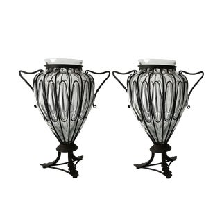 "Mid Century 20"" Italian Caged Blown Glass Vases Murano Design - a Pair For Sale"