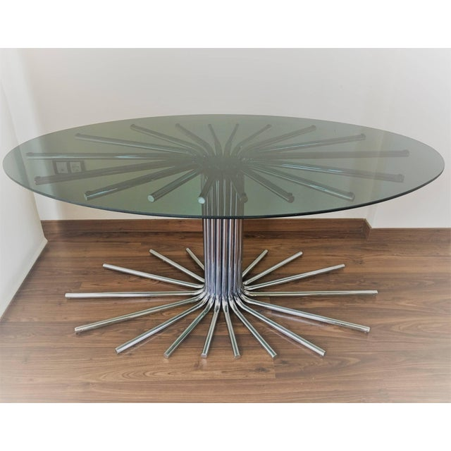 Silver 1950s Italian Fume' Glass Top Dining Table in the Manner Gastone Rinaldi For Sale - Image 8 of 10