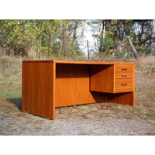 Vintage Mid Century Danish Modern Teak Executive Office Desk Denmark - Image 11 of 11
