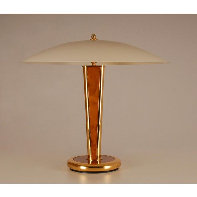Mid Century Mushroom Gilt Brass and Burl Wood Table Lamp with Hand Crafted Glass Shade Milo Baughman Style For Sale - Image 11 of 11