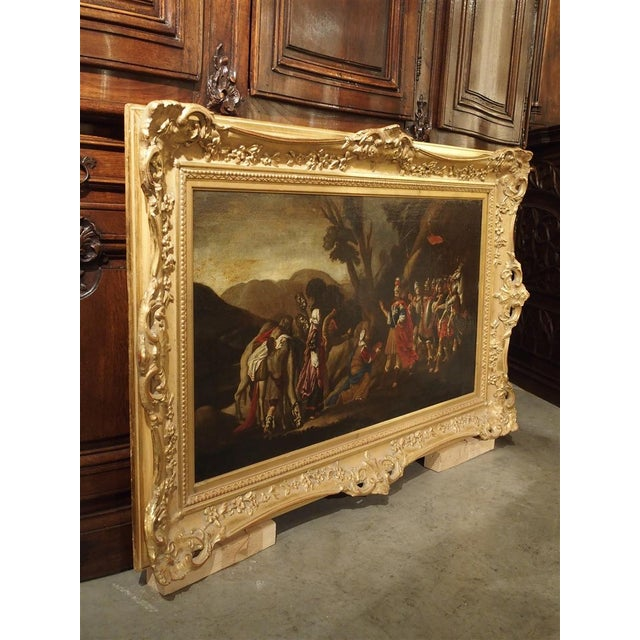 18th Century Italian Oil Painting on Canvas in Giltwood Frame For Sale - Image 10 of 11