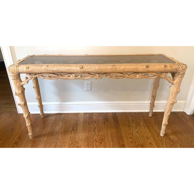 Beige Faux Bois Carved Wood Console With Glass Insert For Sale - Image 8 of 8