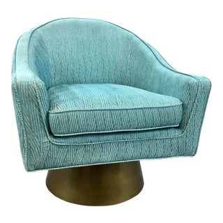 Worlds Away Modern Turquoise Cut Velvet Dominic Swivel Chair For Sale