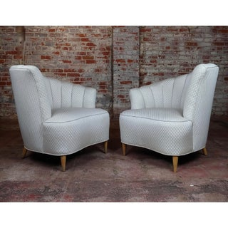 1940s Vintage Art Deco Glamour Channel Back Chairs- A Pair Preview
