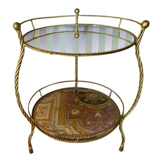 Vintage Iron & Glass Bar Cart For Sale