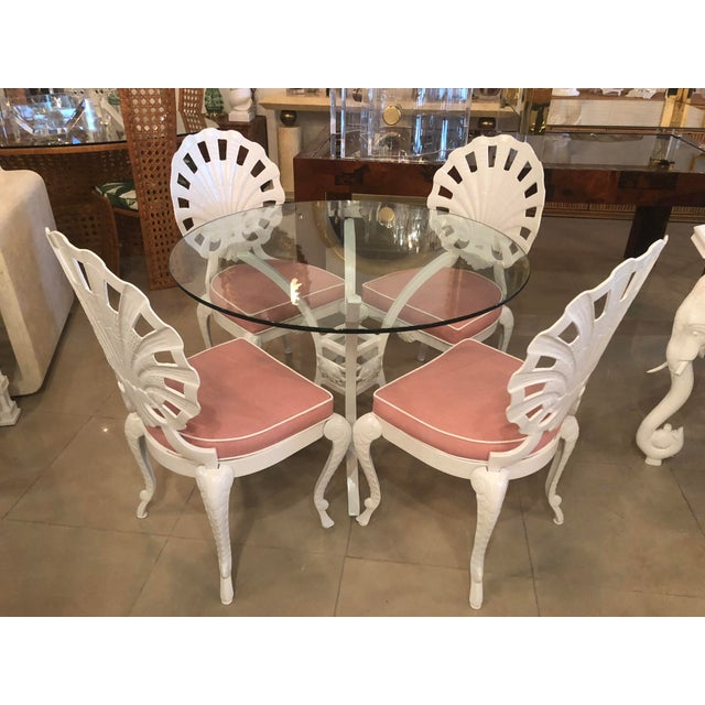 Vintage Brown Jordan Grotto Shell Back White Powdercoated Patio Chairs and Table -Set of 5 For Sale - Image 13 of 13